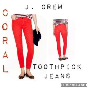 J Crew coral tooth pick jeans